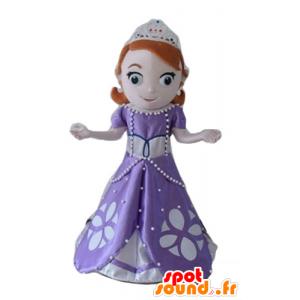 Mascotte de jolie princesse rousse, avec une robe violette