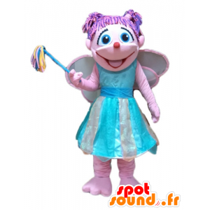 Mascot ganske rosa og blå fe, fargerike og smilende