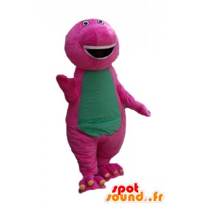 Pink and green dinosaur mascot, giant, plump and funny - MASFR23660 - Mascots dinosaur