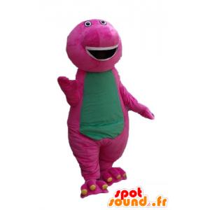Rosa und grünen Dinosaurier Maskottchen, riesig, plump und lustige - MASFR23660 - Maskottchen-Dinosaurier