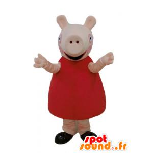 赤いドレスを着たピンクのブタのマスコット-MASFR23669-ブタのマスコット