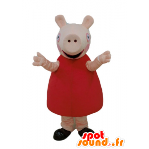 Rosa Schwein-Maskottchen mit einem roten Kleid - MASFR23669 - Maskottchen Schwein