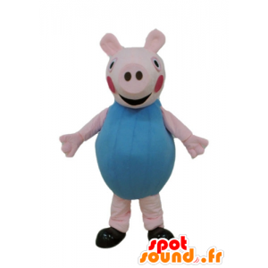 Pink pig mascot dressed in blue - MASFR23670 - Mascots pig
