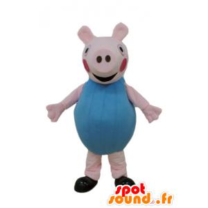 Rosa Schwein-Maskottchen in Blau gekleidet - MASFR23670 - Maskottchen Schwein