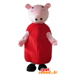 Pink pig mascot with a red dress - MASFR23671 - Mascots pig