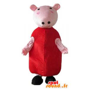 Rosa Schwein-Maskottchen mit einem roten Kleid - MASFR23671 - Maskottchen Schwein