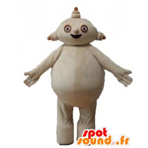 Mascotte grote beige man, mollig en lachend - MASFR23679 - Niet-ingedeelde Mascottes
