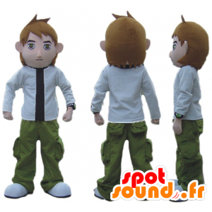 Mascote menino, vestido verde, branco e preto - MASFR23701 - Mascotes Boys and Girls