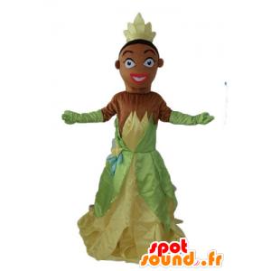 Mascot prinsessa Tiana päässä Prinsessa ja sammakko