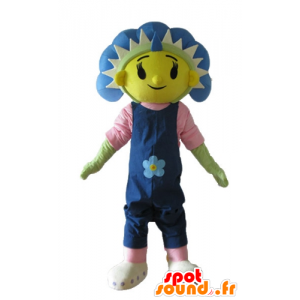 Mascot flor gigante, azul, amarelo e verde
