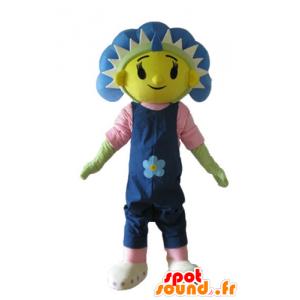 Mascot gigantische bloem, blauw, geel en groen