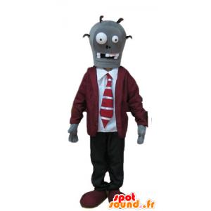 Mascotte de squelette, de mort vivant, en costume cravate