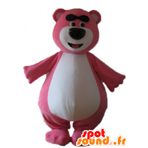 Large pink and white teddy mascot, plump and funny - MASFR23724 - Bear mascot