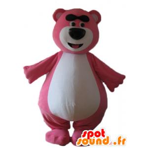 Stor rosa og hvit teddy maskot, lubben og morsom - MASFR23724 - bjørn Mascot