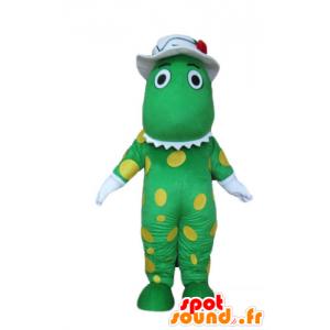 Dinosauro mascotte, coccodrillo verde, piselli gialli - MASFR23729 - Mascotte di coccodrilli