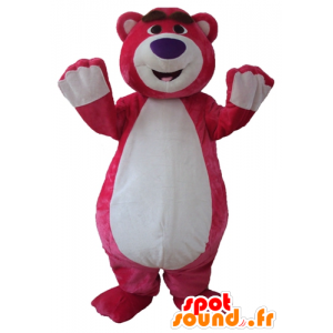 Large pink and white teddy mascot, plump and funny - MASFR23757 - Bear mascot