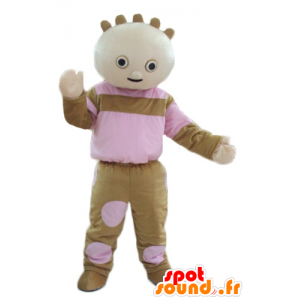 Doll mascot doll of brown and pink