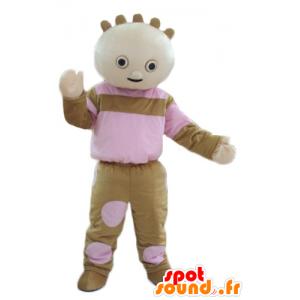 Mascotte de poupée, de poupon marron et rose