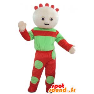Dukke maskot, grønn og rød babyen