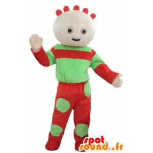 Mascota de la muñeca, verde y rojo del bebé