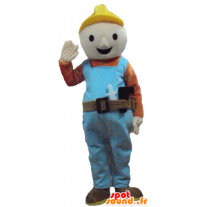 Mascot arbeider, timmerman in kleurrijke outfit