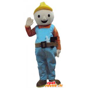 Maskotka pracownik, stolarz w kolorowy strój