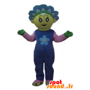 Mascot consideravelmente amarelo e flor azul, bonito e colorido