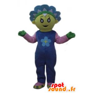 Mascot hübsche gelbe und blaue Blume, niedliche und bunte