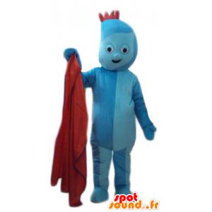 Mascotte blauw man, met een rode heuvelrug - MASFR23771 - Niet-ingedeelde Mascottes