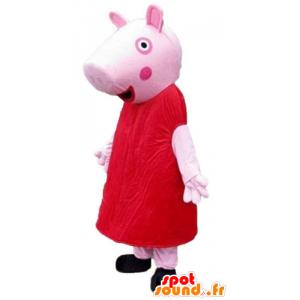 赤いドレスに身を包んだピンクのブタのマスコット-MASFR23796-ブタのマスコット
