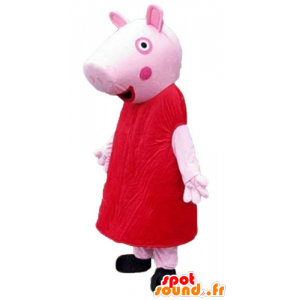 Pink pig mascot dressed in a red dress - MASFR23796 - Mascots pig