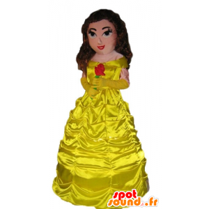 Princess mascot dressed in a beautiful yellow dress