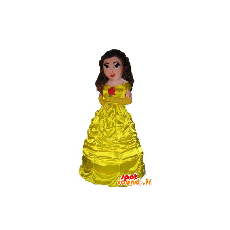 Nouvel Mascotte de princesse vêtue d'une belle robe jaune dans Mascottes HM-27