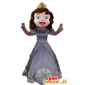 Princess-Maskottchen mit einem grauen Kleid und eine Krone