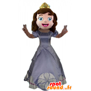 Prinsessa Mascot, jossa on harmaa mekko ja kruunu