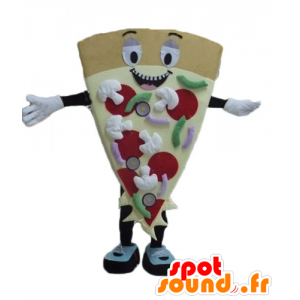 Mascotte condividere la pizza gigante, sorridente e colorato - MASFR23811 - Mascotte Pizza