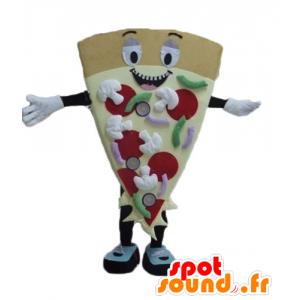 Mascotte teilen riesigen Pizza, lächelnd und bunt - MASFR23811 - Maskottchen-Pizza