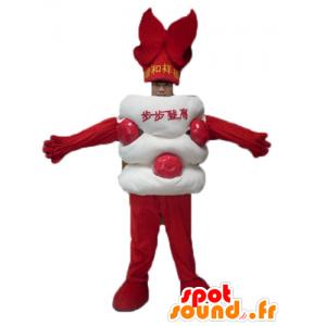 Aziatische zoete mascotte, witte en rode reus - MASFR23818 - mascottes objecten
