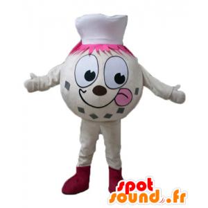 Snømann maskot, ball beige is, med en toque - MASFR23820 - Ikke-klassifiserte Mascots