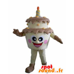 Birthday Cake giant mascot, brown and yellow - MASFR23821 - Mascots of pastry