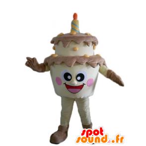 Jätte födelsedagstårta maskot, brun och gul - Spotsound maskot