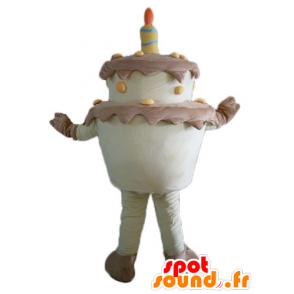 Verjaardagstaart mascotte reus, bruin en geel - MASFR23821 - mascottes gebak