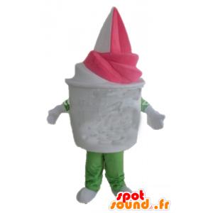 Ice pot mascot giant vanilla-strawberry - MASFR23831 - Fast food mascots