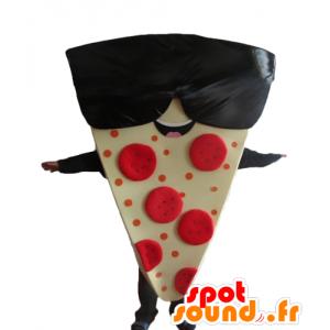 Mascotte condividere la pizza gigante con gli occhiali da sole - MASFR23838 - Mascotte Pizza