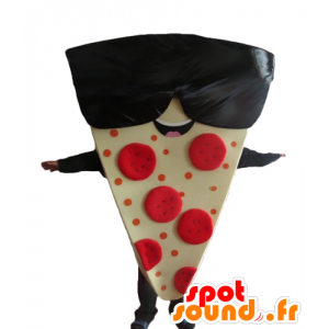 Mascotte share giant pizza with sunglasses - MASFR23838 - Mascots Pizza