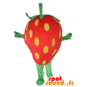 Mascot giant strawberry, red, yellow and green - MASFR23840 - Fruit mascot