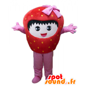 Mascot giant strawberry, red and pink, smiling - MASFR23844 - Fruit mascot