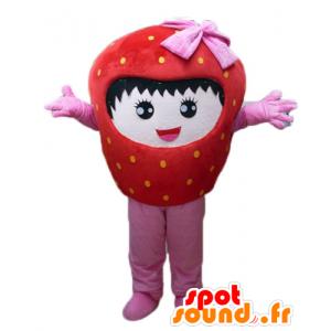 Mascot riesigen Erdbeere, rot und rosa, lächelnd - MASFR23844 - Obst-Maskottchen