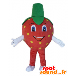 Mascot strawberry red, yellow and green giant - MASFR23848 - Fruit mascot