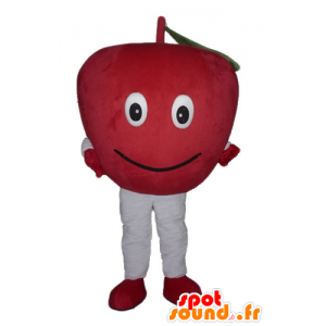 Apple mascot red giant and smiling - MASFR23849 - Fruit mascot
